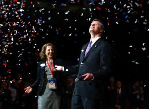 Baker accepting the nomination. Photo courtesy of Jonathan Wiggs/Boston Globe staff.