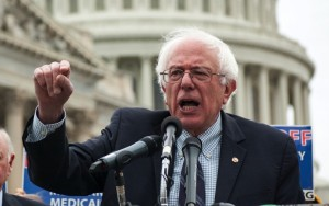 Sen. Bernie Sanders speaks at a rally in support of a constitutional amendment to overturn the Supreme Court's Citizens United decision.