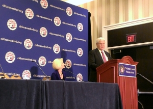 Newt Gingrich speaks in one of the smaller Potomac rooms.