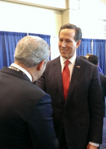Pennsylvania Senator Rick Santorum talks to supporters in The Hub.